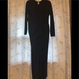 Low cut L/S bulk dress midi